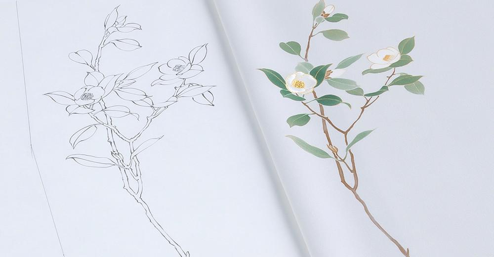 着物に使われる日本の季節の模様:白椿