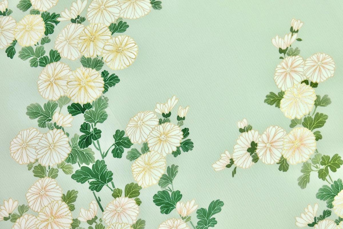 秋の着物模様[菊]