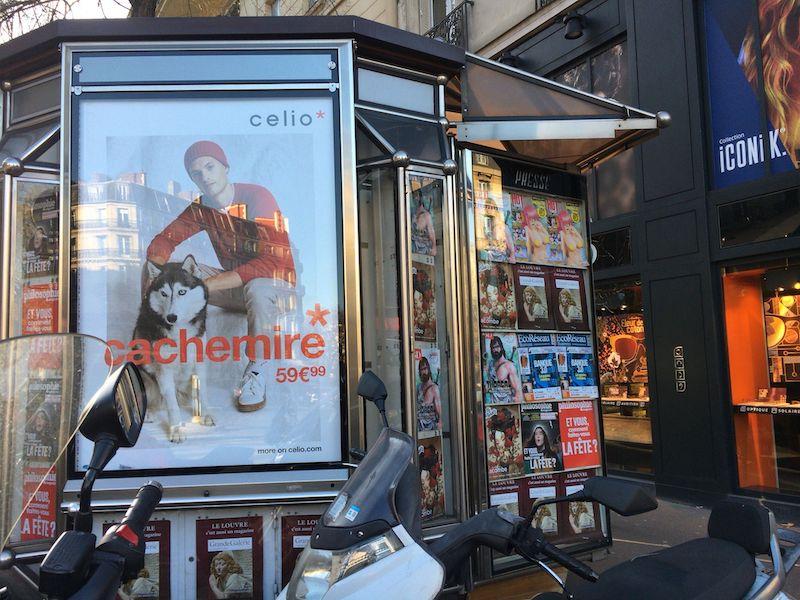 dimdamdomが販売されているフランスのキオスクのようなお店