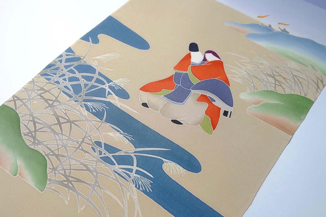 伊勢物語「芥川」在原業平とお姫様の工程見本2。友禅と引き染めが完了したところ。