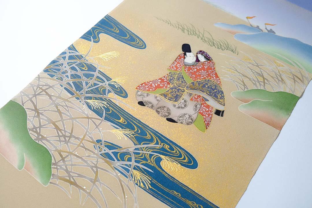 伊勢物語「芥川」在原業平とお姫様の工程見本3完成品。金彩と仕上げ、刺繍が入って豪華に。